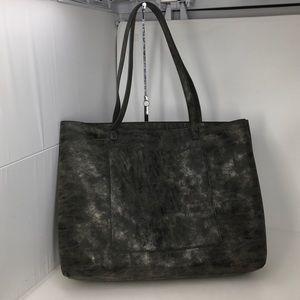 Street Level Slouchy Leather Metallic Grey Tote